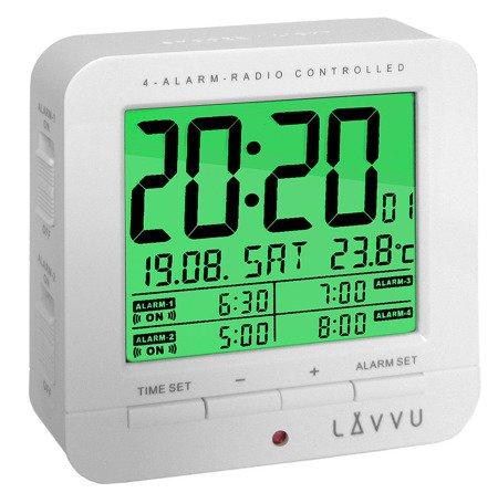 Budzik LAVVU STEROWANY RADIOWO 4 alarmy TERMOMETR LAR0010