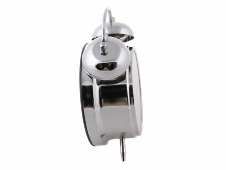 Budzik biurkowy srebrny metal  BELL ALARM 0906