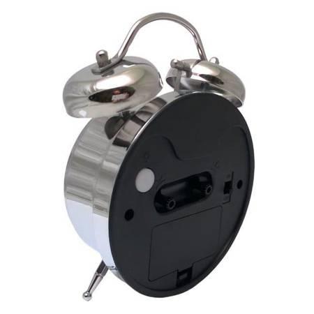 Budzik biurkowy srebrny metal  BELL ALARM ATB045W