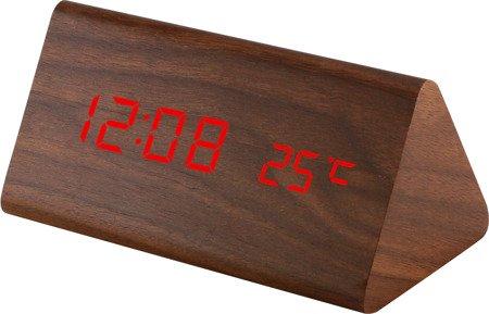 Budzik MPM sieciowy ZEGAR termometr 3 alarmy C02.3570.50 RED