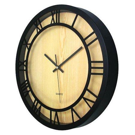 SUPER zegar ścienny czarny średni ATE2013R-B