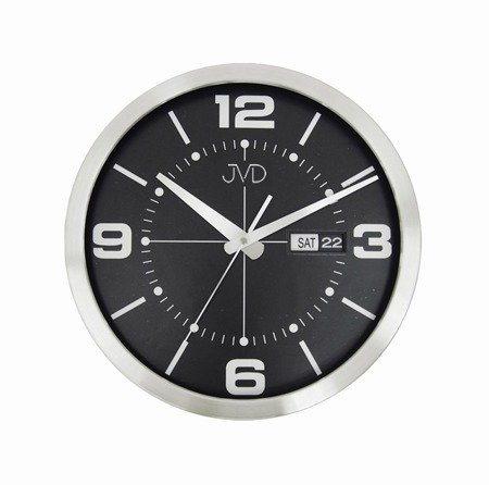 Zegar JVD ścienny ALUMINIUM datownik HO255.1