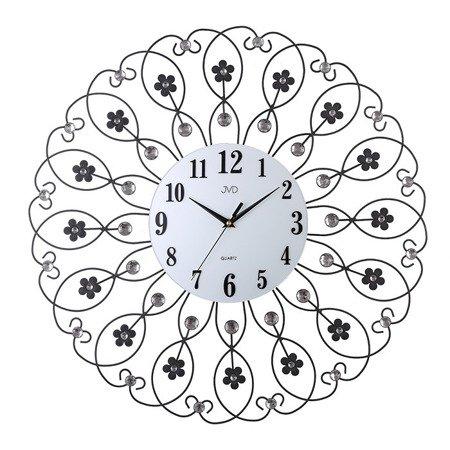 Zegar JVD ścienny DUŻY 60 cm  KWIATY kryształy HJ86