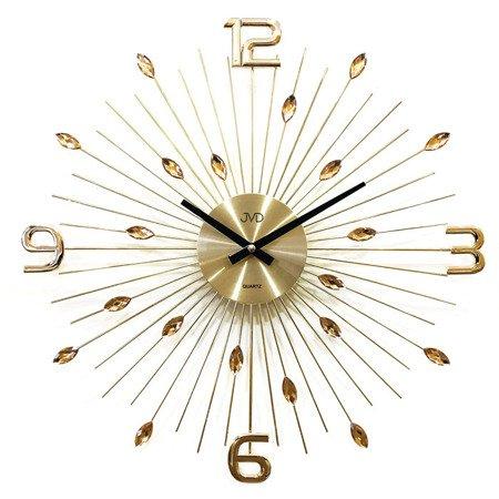 Zegar JVD ścienny kryształ złoty duży 49cm HT104.1