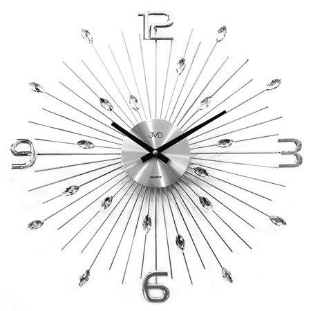 Zegar JVD ścienny kryształy stal duży 49 cm HT104