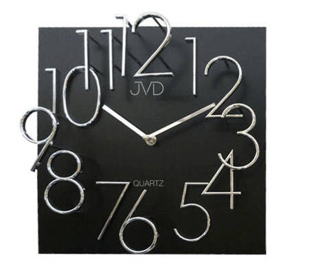 Zegar JVD ścienny płyta MDF czarno-srebrny HB24.4