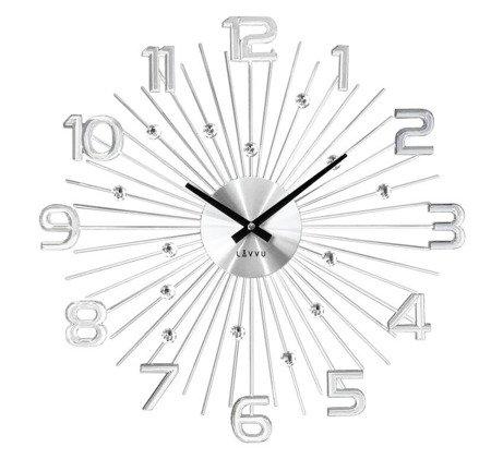 Zegar LAVVU ścienny DESIGNERSKI kryształy stal duży 49 cm LCT1150