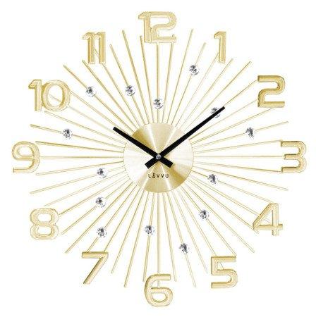 Zegar LAVVU ścienny DESIGNERSKI złoty kryształy duży 49 cm LCT1152