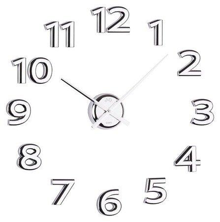 Zegar naklejany srebrne CAŁE CYFRY DIY 80 cm HB12