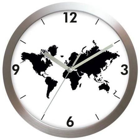 Zegar ścienny ALUMINIUM mapa srebrny AL02MS SW