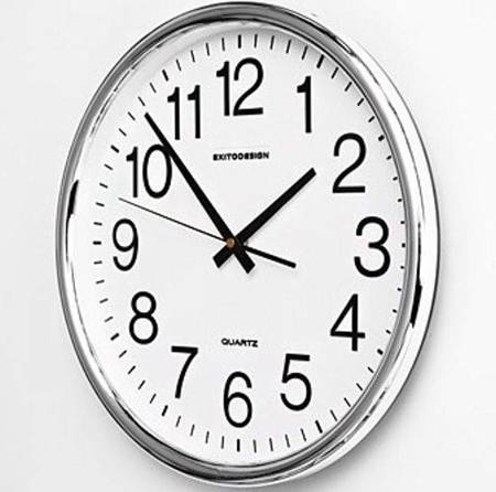 Zegar ścienny CZYTELNY srebrny 35 cm HY-013SS