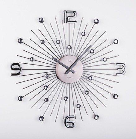 Zegar ścienny DESIGNERSKI grafitowy kryształy stal duży  HT074.2