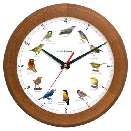 Zegar ścienny DREWNO głosy ptaków ATW301PT1 JD SW