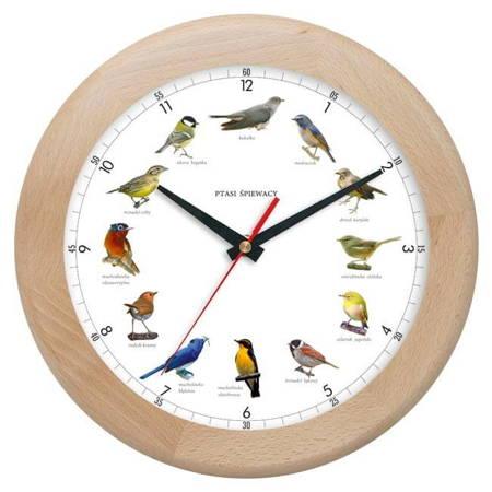 Zegar ścienny DREWNO głosy ptaków ATW301PT1 JES