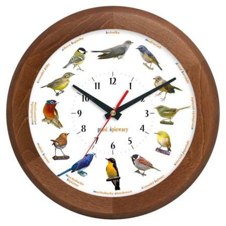 Zegar ścienny DREWNO głosy ptaków ATW301PT2 CD