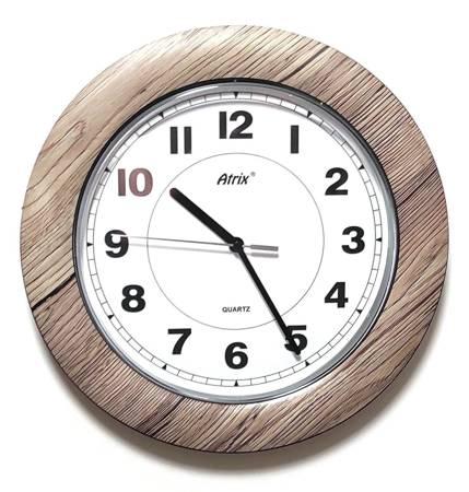 Zegar ścienny DREWNOPODOBNY brązowy cichy T1217R