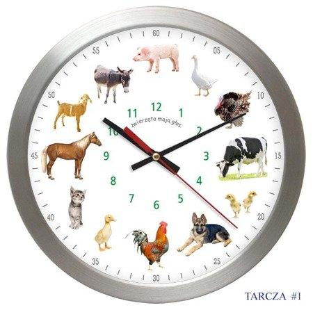 Zegar ścienny GŁOSY ZWIERZĄT cichy AS028ZM T1 SW