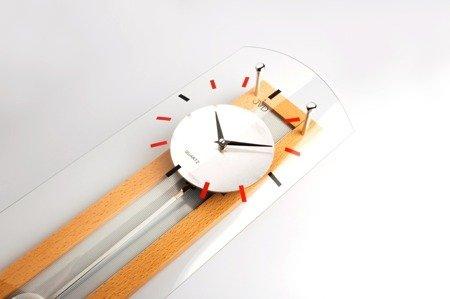 Zegar ścienny JVD Z WAHADŁEM szkło drewno N12007.68