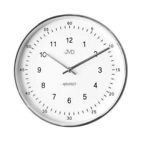 Zegar ścienny JVD nowoczesny srebrny błyszczący HT080.1