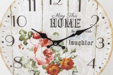 Zegar ścienny MDF retro RÓŻE kwiaty 34 cm 124259
