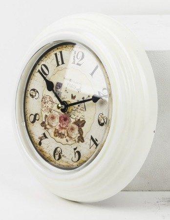 Zegar ścienny METALOWY kwiaty 21 cm cm retro 91410