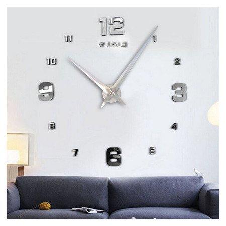Zegar ścienny NAKLEJANY srebrny duży 110cm DIY05S3