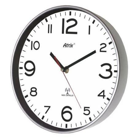 Zegar ścienny RADIOWY srebrny ATE2303SSRC W