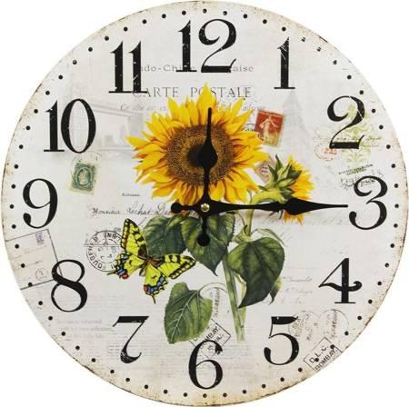 Zegar ścienny SŁONECZNIKI retro EFEKTOWNY 105644