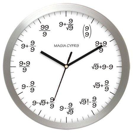 Zegar ścienny aluminium matematyczny AL02M9 WH