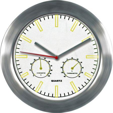 Zegar ścienny aluminium nowoczesny higrometr temp. E01.2485.7000