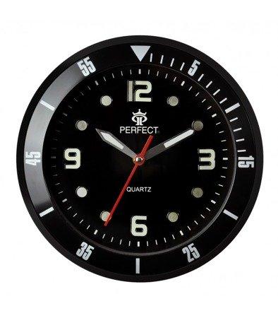 Zegar ścienny czarny nowoczesny czytelny fosforyzujący PE 825 BLACK