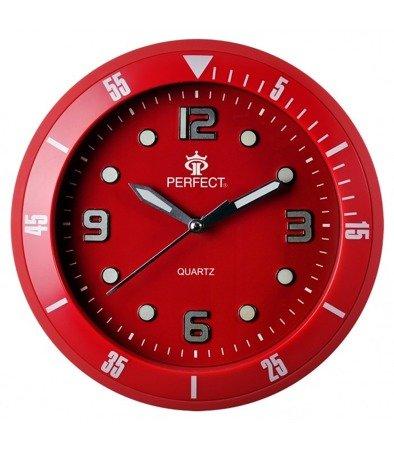 Zegar ścienny czerwony nowoczesny czytelny fosforyzujący 825 Red