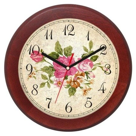 Zegar ścienny drewniany RÓŻE cichy ATW301KW2 MH SW