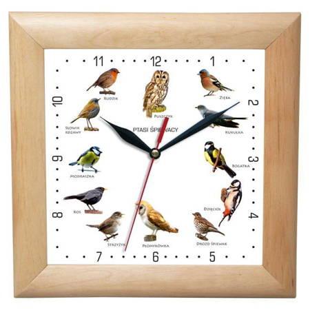 Zegar ścienny głosy ptaków DREWNO jesion