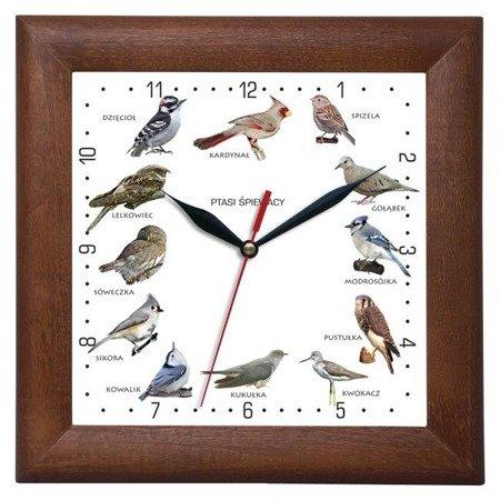 Zegar ścienny głosy ptaków drewniany  ciemny dąb ATW2650PS3
