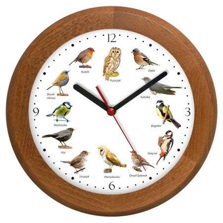 Zegar ścienny głosy ptaków drewniany  jasny dąb ATW301PK3 SW JD
