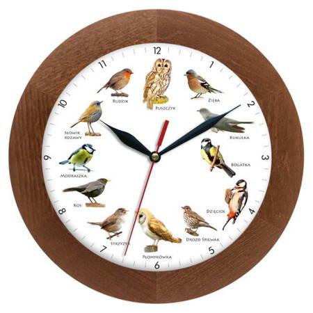 Zegar ścienny głosy ptaków drewno ATW300PK3 CD SW