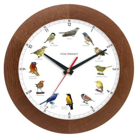 Zegar ścienny głosy ptaków drewno ATW300PT1 CD SW