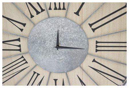 Zegar ścienny metalowo (imitacja betonu) - drewniany nowoczesny duży 103719