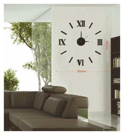 Zegar ścienny naklejany DIY czarny 50 cm MPM E01.3511