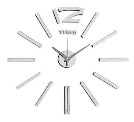 Zegar MPM ścienny naklejany DIY srebrny 60 cm E01.3659