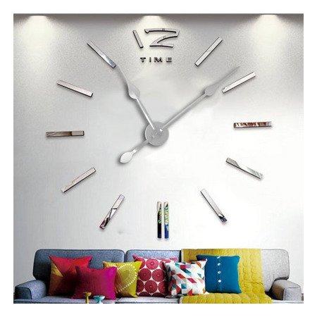 Zegar ścienny naklejany DIY srebrny lustro duży 110 cm DIY01S2