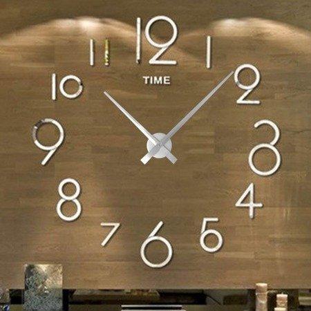 Zegar ścienny naklejany DIY srebrny lustro duży 110 cm DIY16S3