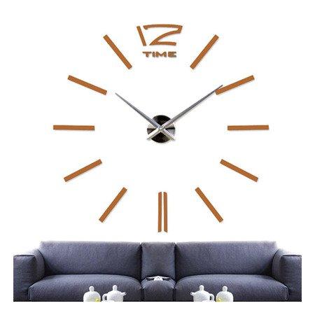 Zegar ścienny naklejany DIY złotobrązowy lustro duży 100 cm DIY01T4