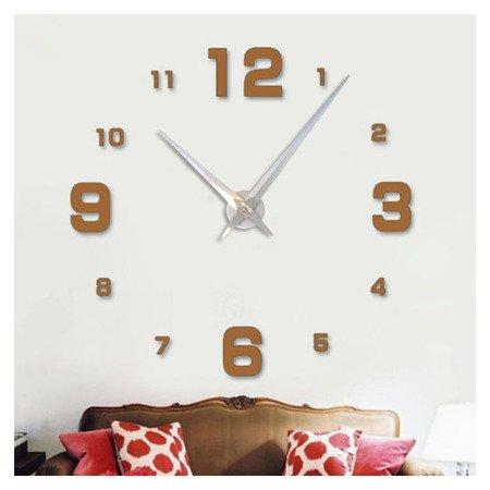 Zegar ścienny naklejany DIY złotobrązowy lustro duży 100 cm DIY05T1