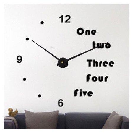 Zegar ścienny naklejany czarny DUŻY 100 cm DIY17B3