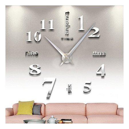 Zegar ścienny naklejany srebrny lustro duży 110 cm DIY02S3