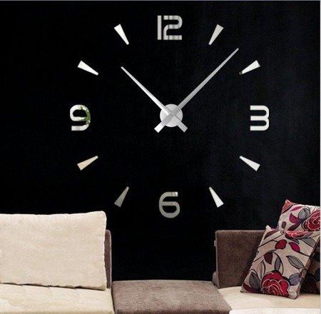 Zegar ścienny naklejany srebrny lustro duży 110cm DIY15S3