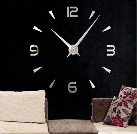 Zegar ścienny naklejany srebrny lustro duży 120cm DIY15S1