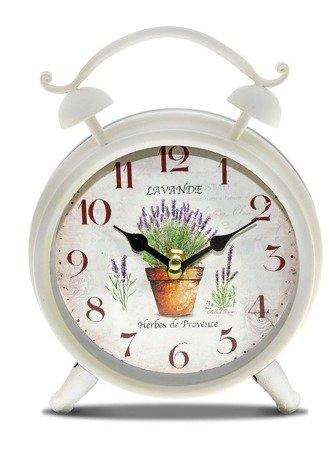 Zegar stojący metalowy w kształcie budzika retro lawenda 93347